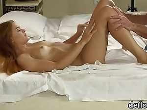 Lovable nympho gapes tight snatch and gets deflorated