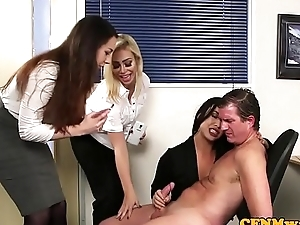 CFNM tryst babes tugging guys cock