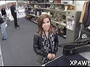 Amazing little bimbo is making a sure thing sex movie scene in shop