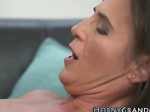 Old ladies mouth jizzed