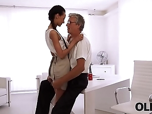 OLD4K. Beautiful brunette successfully seduced say no to middle-aged boss