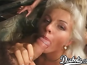 Gorgeous blonde babes assfucked in a big cock fourway