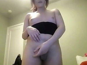 Thick Trans Blasting Her Load On Herself