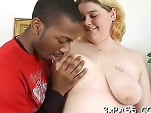 Fat benefactor is performing A- blowjob to her black boyfriend