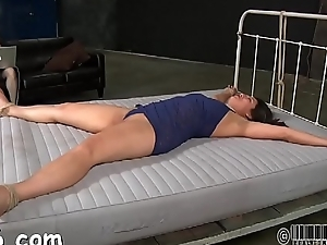 Gagged beauty'_s pussy is being fucked viciously by hard rod