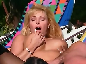 Busty blonde MILF Lovette moans upon pleasure while getting nailed outdoors