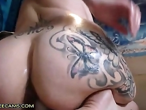 Huge Ass Brunette Fucks Really Creamy Pussy
