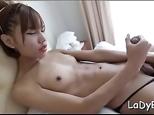 Lusty asian ladyboy is avid to get this huge one-eyed monster in anal