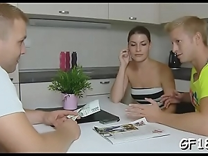 And then fellow takes his cock out of her loving hole and gives gal an opportunity of feeling jizz on her ideal body.