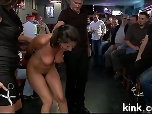 Hot pretty angel ass screwed and dominated in bondage by bartender.
