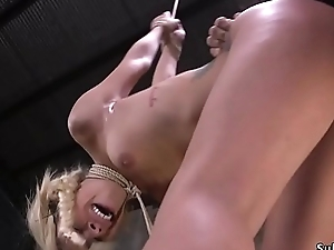 Blonde whipped and rough fucked