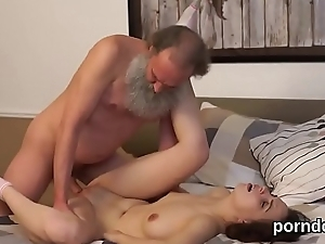 Sensual schoolgirl gets seduced and penetrated by aged schoolteacher