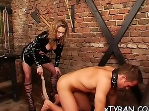 Babe gets her throat and pussy screwed in embrace b influence fetish