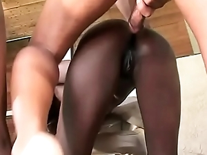 Stud fucks 2 hot cock sucking black anal bitches Mocha and Chocolate intermittently bust cum load on them