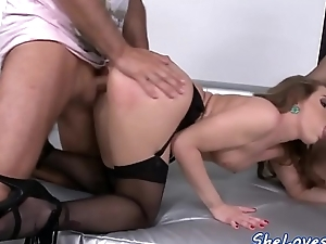 Doublepenetrated babe just about stockings fucks indestructible