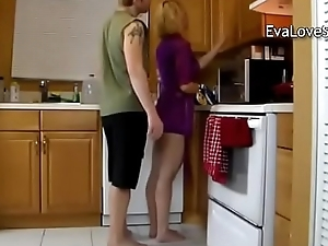Son fucked his mother on the table
