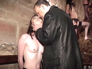 4 slaves punished and humiliated by master he fucks and slaps them