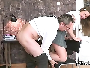 Sultry schoolgirl gets seduced and nailed by elder instructor