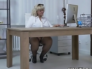 Euro BBW milf Dita works her pussy on every side fingers and dildo