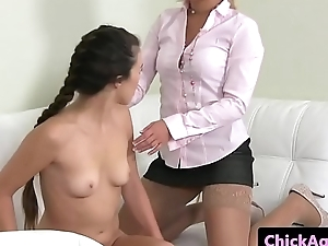 Lesbian casting ingredient gets pussy licked