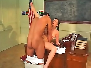 Hot pain in the neck chick on desk gets cum after hot fucking from teacher dude