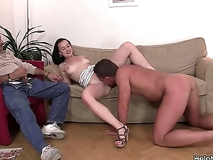 His young brunette girl friend riding another cock