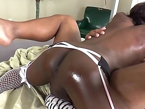 Black trans babe tugs lovers cock during anal