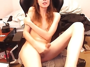 Thin  Tranny Strokes Her Big Shaft For Your Pleasure