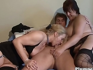 BBW sucking dick during threesome instalment