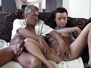 DADDY4K. Horny brunette unleashes all lust at bottom boyfriend'_s aged daddy