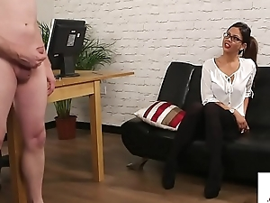 Busty MILF dominates wanking submissive