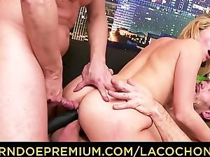 LA COCHONNE - First anal DP for blonde mature Emma Klein in MMF fuck