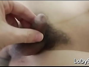Thai tranny gets anus poked in a really tough way