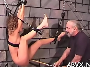 Top notch second-rate bondage scenes there juvenile girl