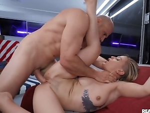 Excited blonde takes cum mainly belly after hardcore sex