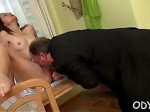 Old boy knows how to make a pleasant young pussy super wet