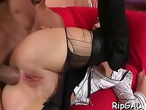 Breasty woman spreads legs procurement dong in twat and butthole