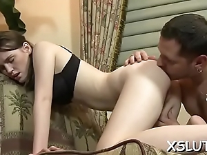 Charming honey pleases mate with wild facesitting action