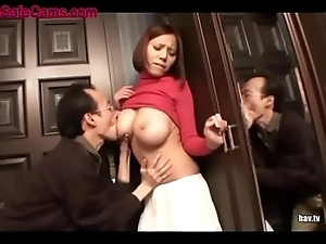 Weirdo follows busty chick home get into fucked