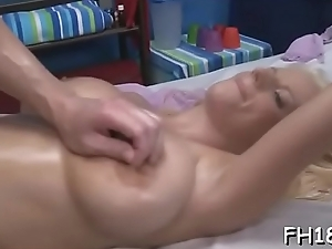 Cute and hawt 18 year old gets fucked hard doggy style by her massage therapist