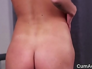 Horny beauty gets cum load on her face gulping all the spunk