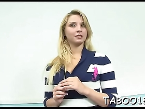 Over-nice teen likes teasing her pussy before sucking cock