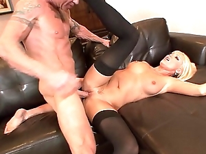 Guy sucks hot babe Diana Doll'_s tits and gets his large cock sucked