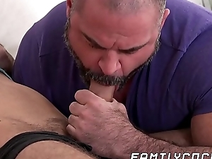 Daddy limitations stepson jerking off and gives him a hand