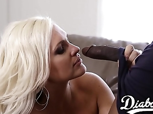 Stacked babe fucks lovers BBC clad friend and eats cum