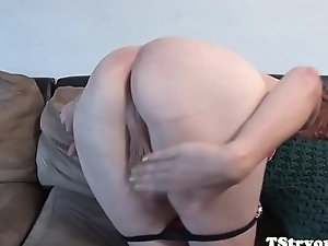 Casting trans teasing her cock in closeup