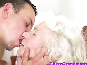 Bigtits granny loves gagging on fat cock