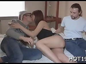 Gal spreads legs getting stranger'_s cock inside of wet snatch