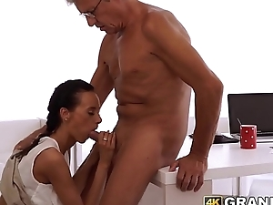 Tender young babe blows and gets doggystyled by elderly boss