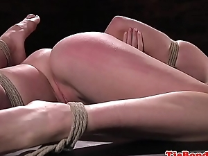 Gagging bondage submissive gets pussy toyed